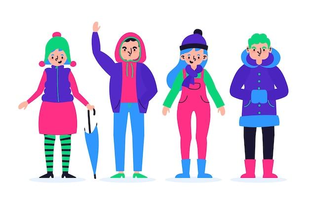 Coleção de pessoas vestindo roupas de inverno