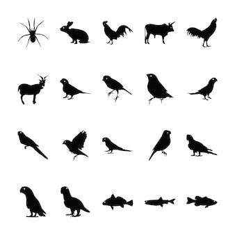 Coleção de pictogramas de animais da selva