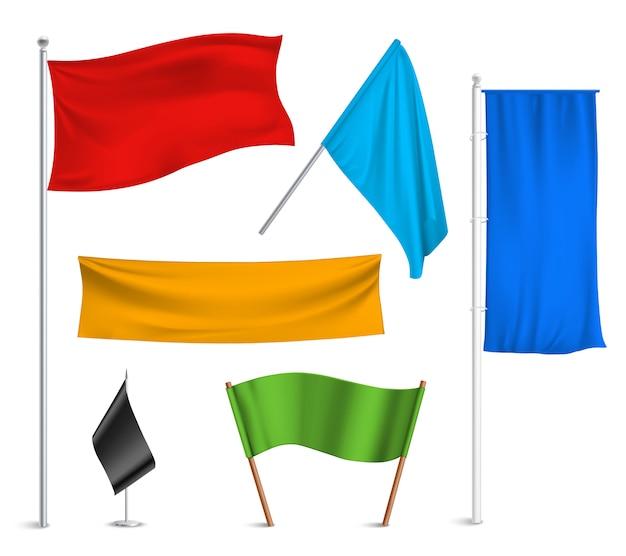 Coleção de pictogramas de bandeiras e banners de várias cores