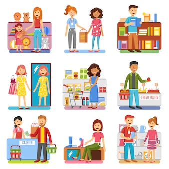 Coleção de pictogramas plana conceito compras família