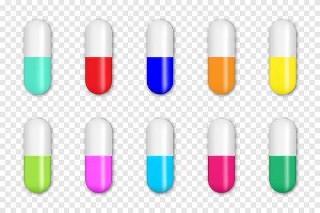 Coleção de pílulas médicas coloridas realistas