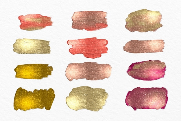 Coleção de pinceladas acrílicas pintadas à mão