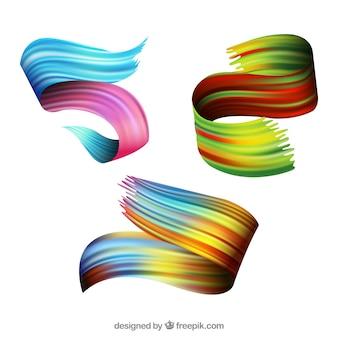 Coleção de pinceladas com muitas cores