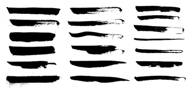 Coleção de pinceladas de aquarela de tinta à mão negra, elementos de efeito grunge