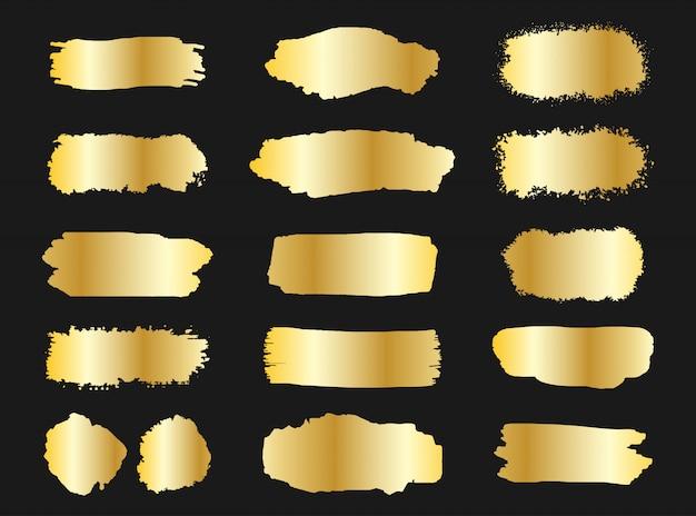 Coleção de pinceladas de ouro