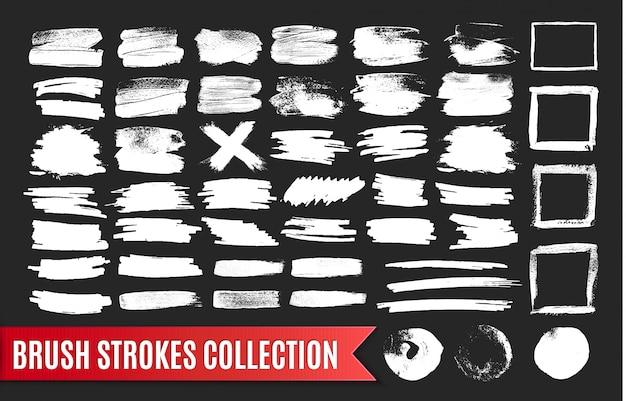 Coleção de pinceladas de tinta preta, elementos de efeito grunge.