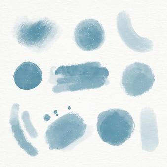 Coleção de pinceladas em aquarela pintada à mão