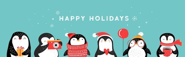 Coleção de pinguins bonitos desenhados à mão