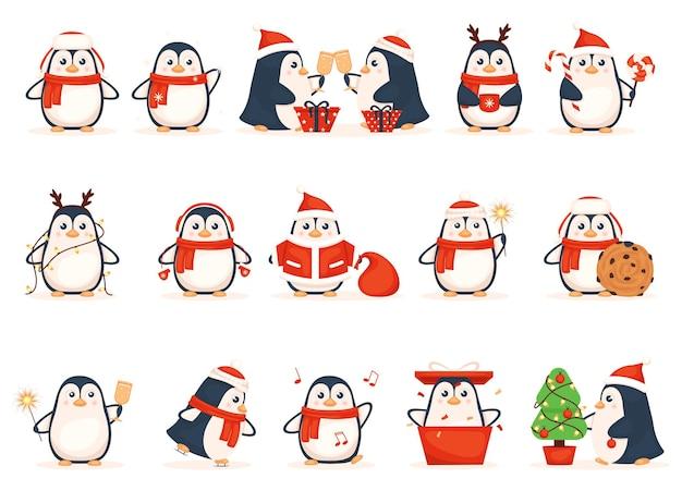 Coleção de pinguins de desenho animado isolada no branco