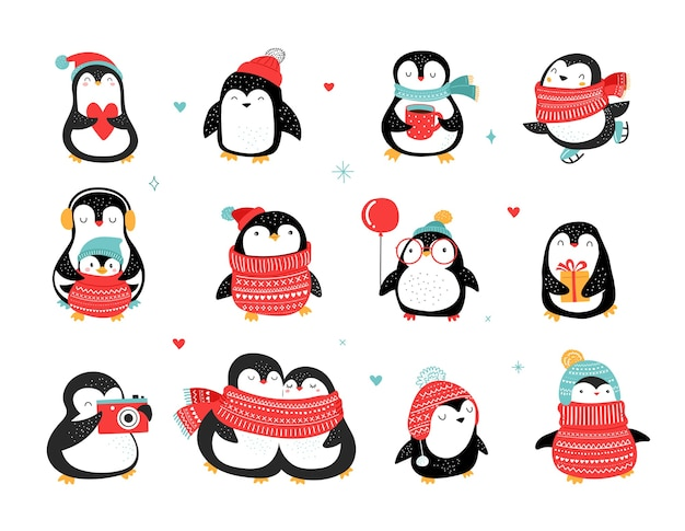 Coleção de pinguins de giro mão desenhada, saudações de feliz natal.