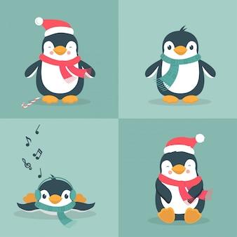 Coleção de pinguins de natal