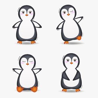 Coleção de pinguins fofa no estilo infantil