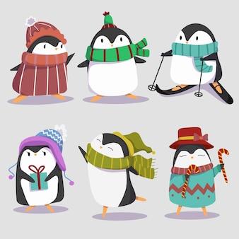 Coleção de pinguins fofinhos de inverno
