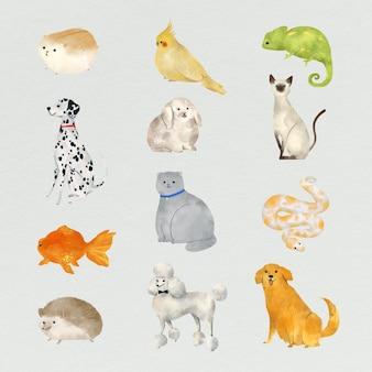 Coleção de pinturas de animais amigáveis