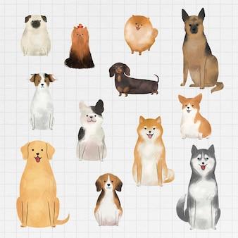 Coleção de pinturas em aquarela para cães