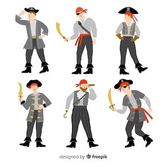 Coleção de pirata plana fantasia de carnaval