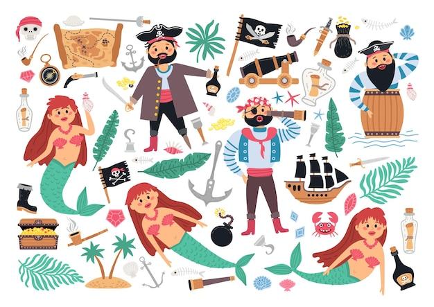 Coleção de piratas com barco a vela, palmeira, sereia, piratas, mapa e outros