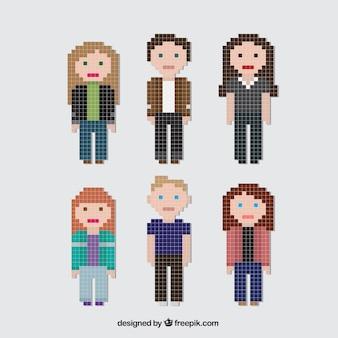 Coleção de pixelated personagens jovens