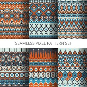 Coleção de pixels vetor padrões sem emenda coloridos
