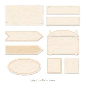 Coleção de placa de madeira com design plano
