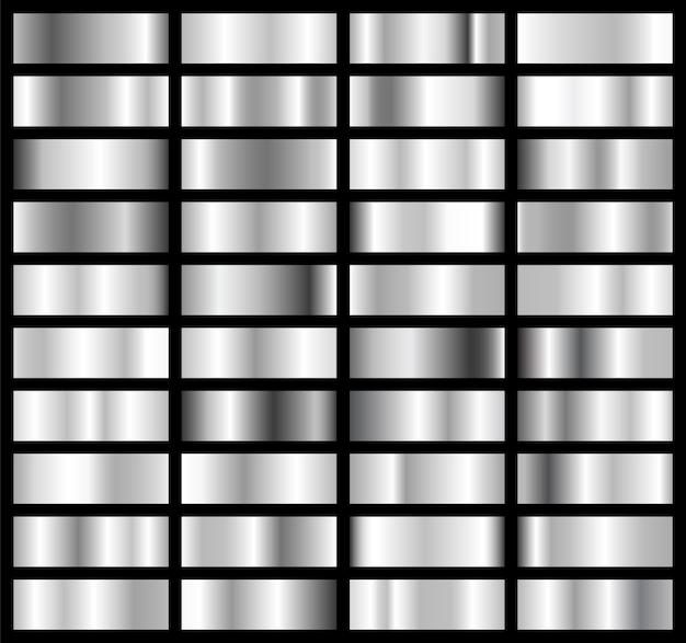Coleção de placas brilhantes com efeito prata