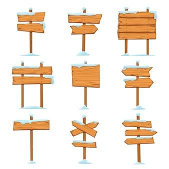 Coleção de placas de madeira vazias