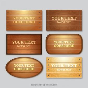 Coleção de placas de madeira
