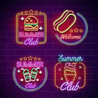 Coleção de placas de neon para bares ou restaurantes