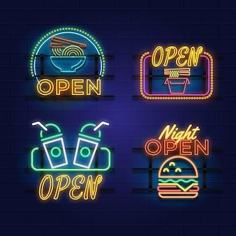 Coleção de placas de neon para bares ou restaurantes Vetor grátis