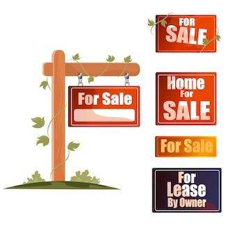 Coleção de placas de venda de imóveis