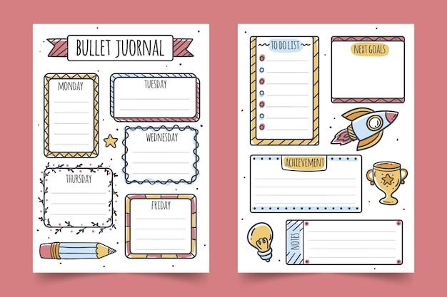 Coleção de planejador de diário com marcadores