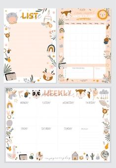 Coleção de planejador semanal ou diário, papel de nota, lista de tarefas, modelos de adesivos decorados com ilustrações de crianças fofas e citações inspiradoras. programador e organizador escolar. plano