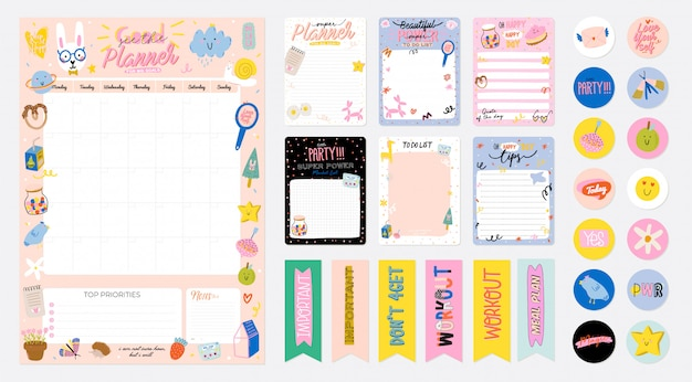 Coleção de planejador semanal ou diário, papel de nota, lista de tarefas, modelos de adesivos decorados com ilustrações de crianças fofas e citações inspiradoras. programador e organizador escolar.