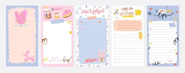 Coleção de planejador semanal ou diário, papel de nota, lista de tarefas, modelos de adesivos decorados com ilustrações de crianças fofas e citações inspiradoras