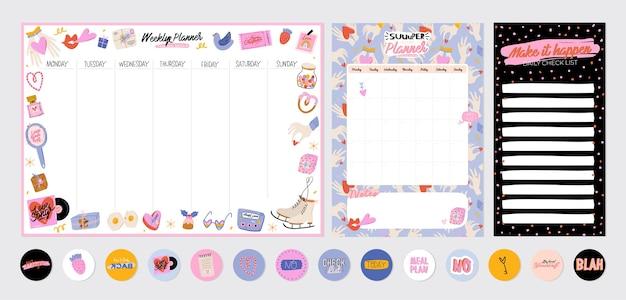 Coleção de planejador semanal ou diário, papel de nota, lista de tarefas, modelos de adesivos decorados com lindas ilustrações de amor e citações inspiradoras. programador e organizador escolar. plano