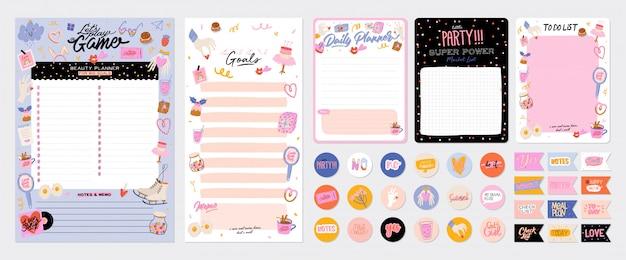 Coleção de planejador semanal ou diário, papel de nota, lista de tarefas, modelos de adesivos decorados com lindas ilustrações de amor e citações inspiradoras. programador e organizador escolar.