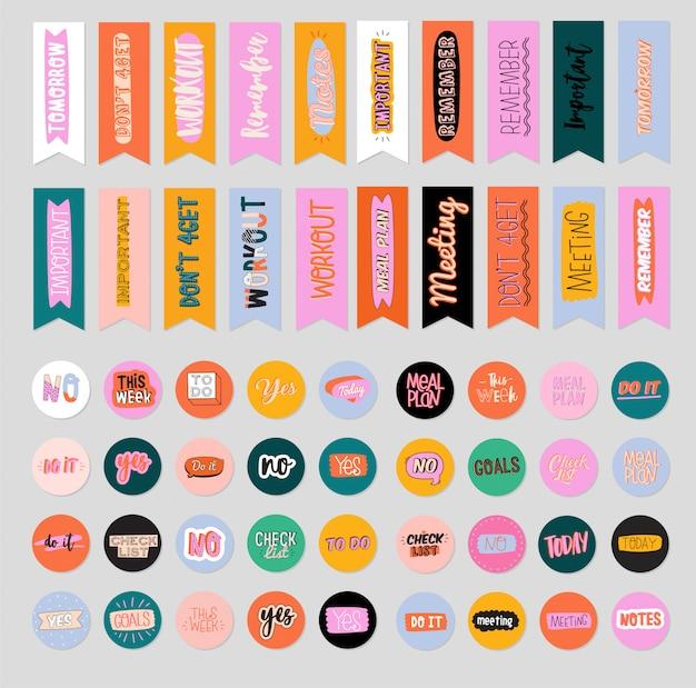 Coleção de planejador semanal ou diário, papel de nota, lista de tarefas, modelos de adesivos decorados por ilustrações de cosméticos de beleza fofa e letras da moda. agendador ou organizador moderno.
