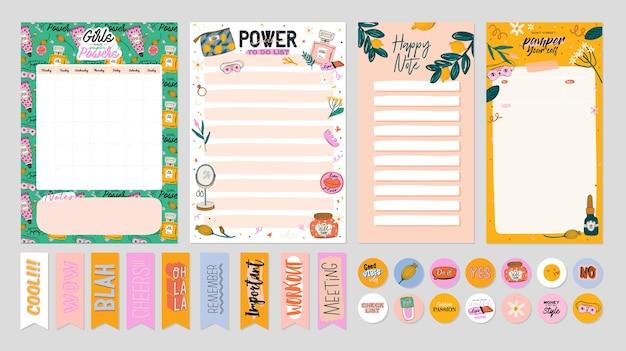 Coleção de planejador semanal ou diário, papel de nota, lista de tarefas, modelos de adesivos decorados por ilustrações de cosméticos de beleza fofa e letras da moda. agendador ou organizador moderno