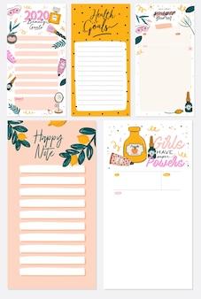 Coleção de planejador semanal ou diário, papel de nota, lista de tarefas, modelos de adesivos decorados