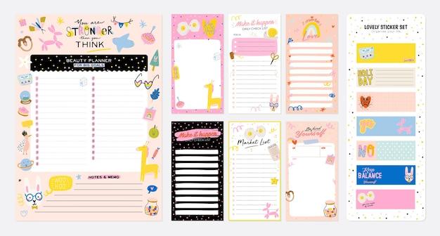 Coleção de planejador semanal ou diário