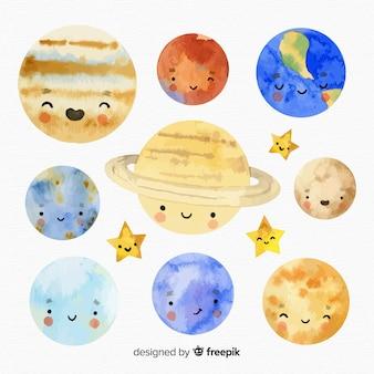 Coleção de planeta aquarela via láctea