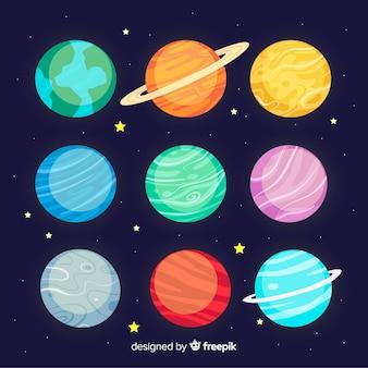 Coleção de planeta mão desenhada
