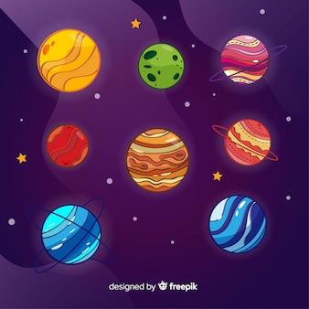 Coleção de planetas coloridos design plano