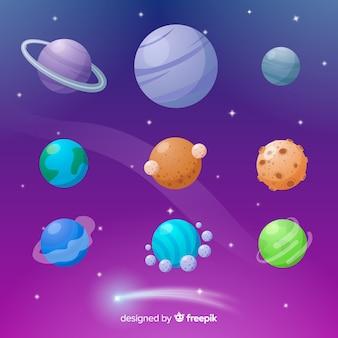 Coleção de planetas coloridos em design plano