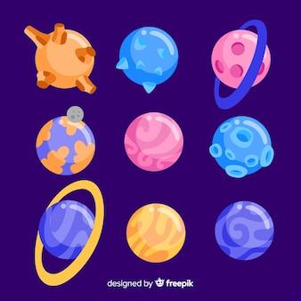 Coleção de planetas coloridos no sistema solar