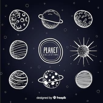 Coleção de planetas da via láctea em preto e branco