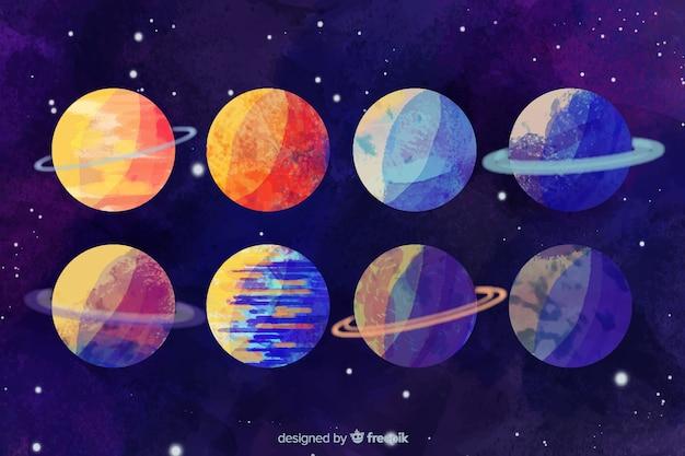 Coleção de planetas diferentes em aquarela