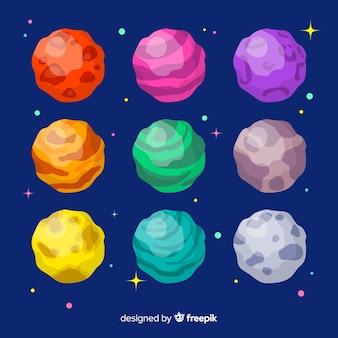Coleção de planetas do sistema solar de mão desenhada
