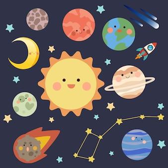 Coleção de planetas e estrelas