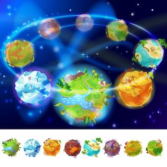 Coleção de planetas terrestres dos desenhos animados